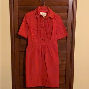 Burberry red 1/2 buttoned down dress